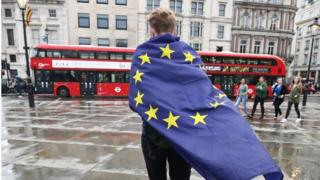 Demonstrator wrapped in EU flag