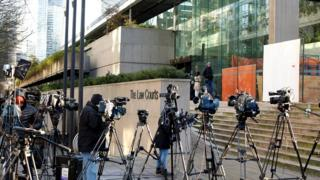 Members of the news media are outside of BC's Supreme Court Citizenship of Huawei CFO Meng Wanzhou, held at an extradition order in Vancouver, British Columbia, Canada, December 7, 2018