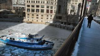 The James Versluis breaks ice on the frozen Chicago River on January 30, 2019