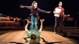 Zubin Varla, Brooke Haynes and Kaisa Hammarlund in Fun Home