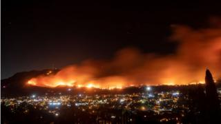 in_pictures A long exposure photo shows the Maria fire as it races across a hillside in Santa Paula