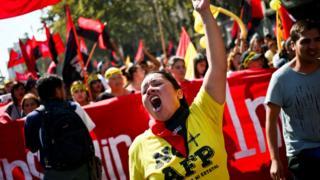 Protesta contra las AFP en Chile