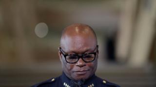 Dallas Police Chief David Brown collects himself while talking about Thursday night's shooting during a news conference, Friday, July 8, 2016, in Dallas.