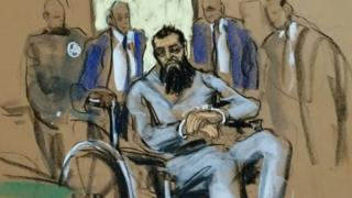 Саипов в суде, рисунок художника