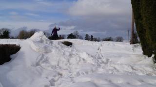 Snow on Hegdon Hill on Monday