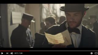 A still from the Budweiser Super Bowl advert showing company founder Adolphus Busch as an immigrant with a dream