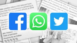 Stack of screenshots with Facebook, WhatsApp and Twitter logos on top