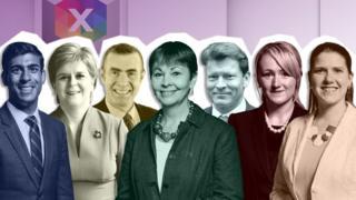 Seven politicians taking part in the debate: Rishi Sunak, Nicola Sturgeon, Adam Price, Caroline Lucas, Richard Tice, Rebecca Long Bailey, Jo Swinson