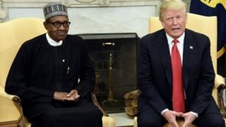 Shugaba Trump da shugaba Muhammadu Buhari a fadar White House