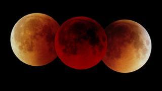 Una composición de un eclipse lunar