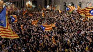Каталонцы на улицах Барселоны