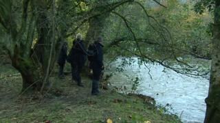 A search team on the River Ogmore