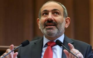 Armenian acting Prime Minister Nikol Pashinyan speaks during a parliament session in Yerevan, Armenia