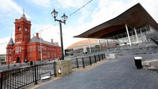 Senedd and Pierhead building in Cardiff Bay