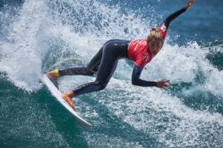 Nadia Erostarbe of Spain competes on the women's final during the final day of the World Surf League - Senegal Pro at Surfers Paradise beach on 30 March 2019 in Dakar, Senegal