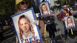 protesters demanding the release of Chelsea Manning