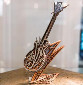 A model version of a guitar sculpture