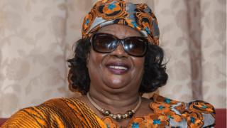 Malawi's former president Joyce Banda poses for a picture at the Chileka International Airport in Blantyre, southern Malawi, after returning home from a self-imposed exile on 28 April 2018