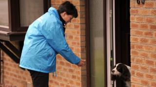 Ruth Davidson canvassing with dog.