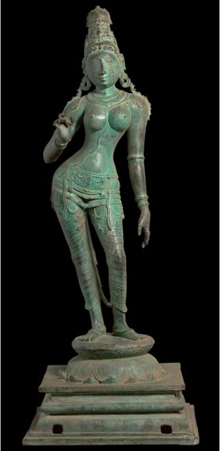 Picture of the 11th Century statue of Hindu goddess Uma Parameshvari