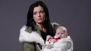 Katie Jarvis as Hayley Slater with baby Cherry