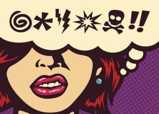 Pop art style illustration - a woman imagining swear words, represented by symbols