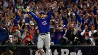 Anthony Rizzo celebrates Chicago Cubs winning the World Series