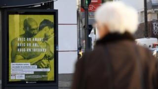 One of the health ministry's safe-sex posters on the streets of Rennes, western France.