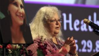 Susan Bro, the mother of Charlottesville victim Heather Heyer, speaks at during a memorial for her daughter.