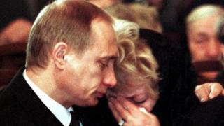 Vladimir Putin and Lyudmila Narusova at Anatoly Sobchak's funeral