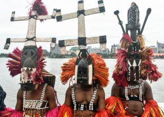 in_pictures Malians in Dogon masks pictured in Abidjan, Ivory Coast - Wednesday 11 March 2020
