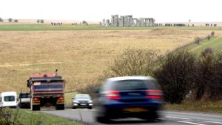 Traffic passing near to Stonehenge