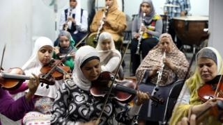 Egyptian blind women's orchestra Al Nour wal Amal practise in Cairo, Egypt - Sunday 17 October 2016