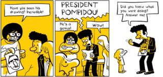 Panel from Riad Sattouf's The Arab Future in which his family react to his drawing of President Pompidou