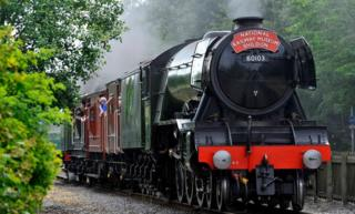 The Flying Scotsman arrives in Shildon, County Durham