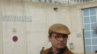 Stephan Templ outside Simmering jail, Vienna