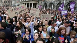 Scenes in Ireland around abortion referendum