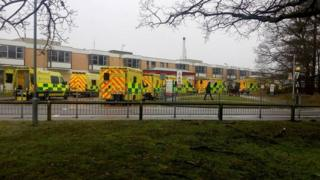 Ambulances outside Queen Elizabeth Hospital, King's Lynn