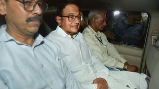 The CBI team leaves with Chidambaram from his Jor Bagh residence in New Delhi Wednesday night