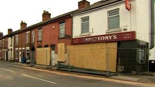 Damaged buildings in Derby