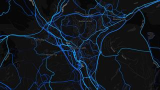 Merthyr Tydfil - cycling routes (by Strava users 2015)