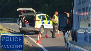 Police at scene of crash near Garve