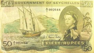 50 rupee Seychelles note with a secret message