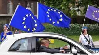 Motorist passing pro-EU campaigners in Parliament