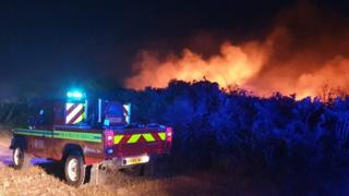 Fire at Browndown Ranges in Gosport