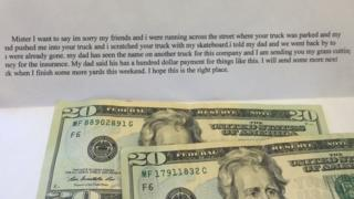 A photograph of forty dollars and the letter, which is written out in the article.