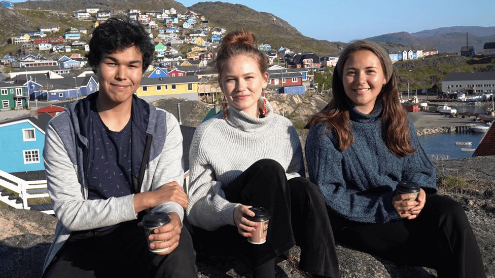 Inutsiaq Ibsen, 18, Naja-Theresia Høegh, 19, and Caroline Hartmann Hansen, 21, in Qaqortoq
