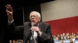 Bernie Sanders addresses his first campaign rally after the Nevada Caucus