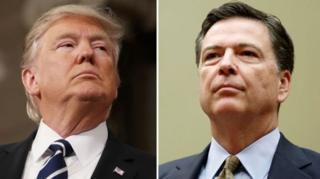 ภายซ้ายคือ ประธานาธิบดีทรัมป์ ภาพขวาคือนายเจมส์ คอมีย์ ผู้อำนวยการสำนักงานสอบสวนกลางหรือเอฟบีไอ