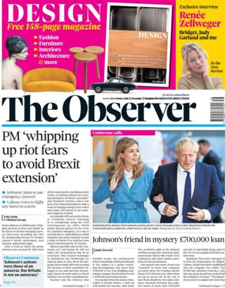 The Observer's front page September 29